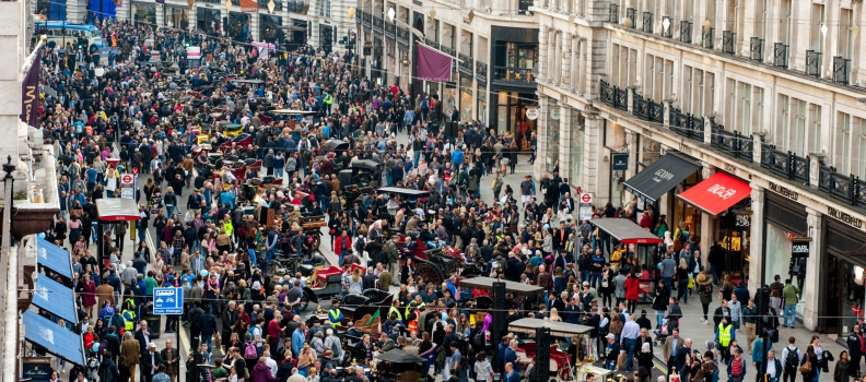 Huge crowds taken back to the future at packed Regent Street Motor Show