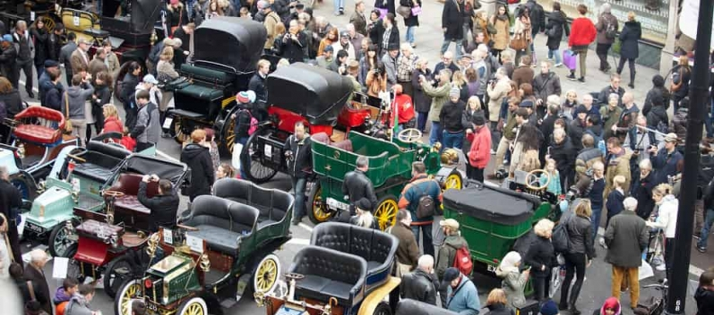 Veteran Cars Ready to Turn Regent Street from a City Carriageway to a Concours Catwalk